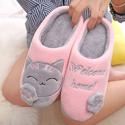 Women Winter Home Slippers Cartoon Cat Shoes Soft Winter Warm House Slippers Indoor Bedroom Slippers Couples T065