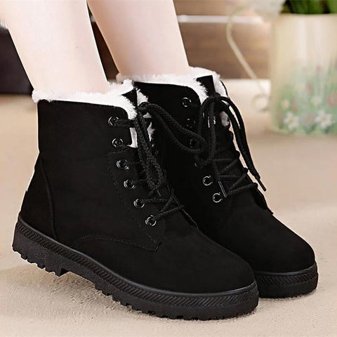Snow boots 2020 warm fur plush Insole women winter boots square heels flock ankle boots women shoes lace-up winter shoes woman