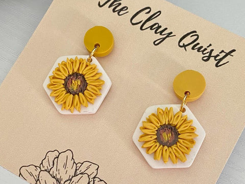 Hand-made earrings with yellow floral pattern