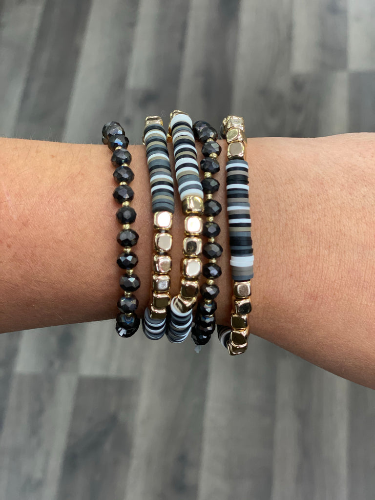 black crystal stack bracelet