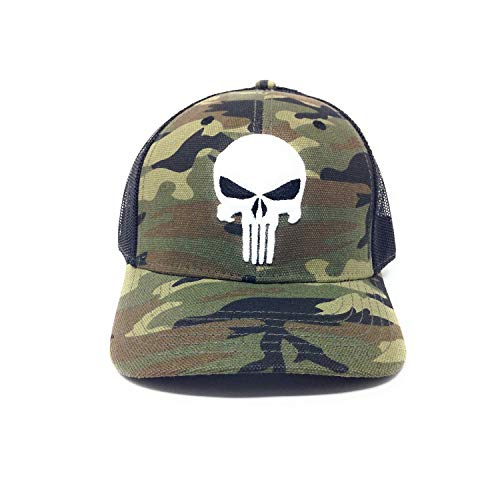 Bioworld Men's Licensed Punisher Logo Embroidery Camouflage Mesh Curved Brim Trucker Snapback Hat O/S Green/Black