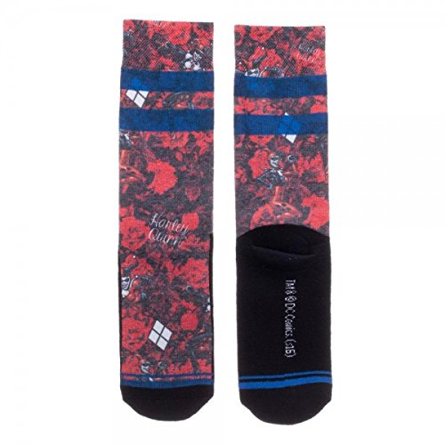 DC Comics - Harley Quinn - Floral Juniors Sublimated Crew Socks