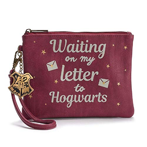 Harry Potter Waiting On My Letter To Hogwarts Wristlet Purse w Charm Burgundy