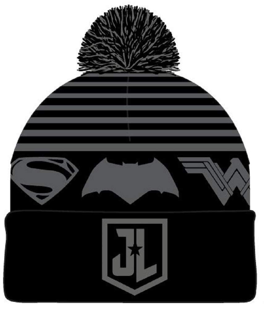 DC Comics - Justice League - Logo Embroidery Black & Grey Winter Beanie Hat