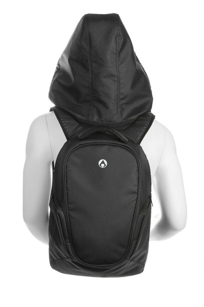 Aeer Urban Active Black Backpack with Hood back