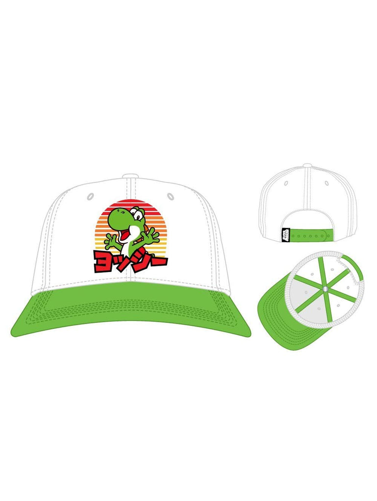Nintendo - Yoshi Kanji Japanese - White & Green - Adjustable Snapback Hat Cap