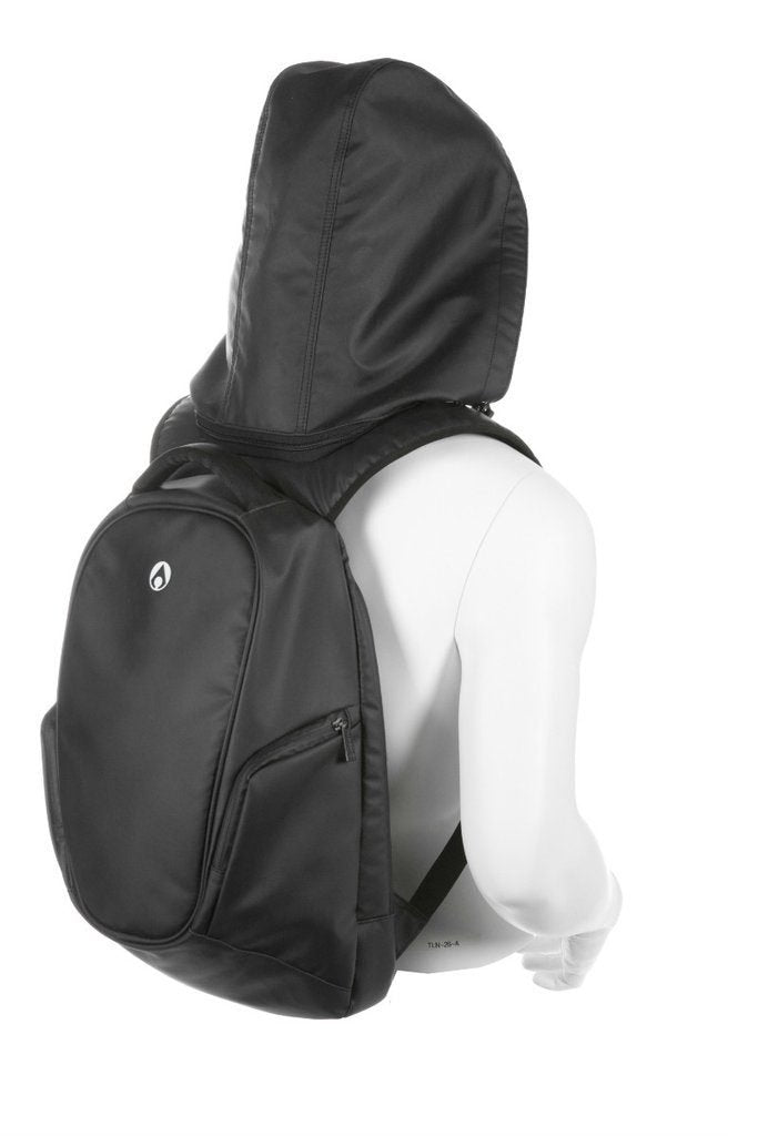 Aeer Urban Active Black Backpack with Hood and Anti Thieft Compartment