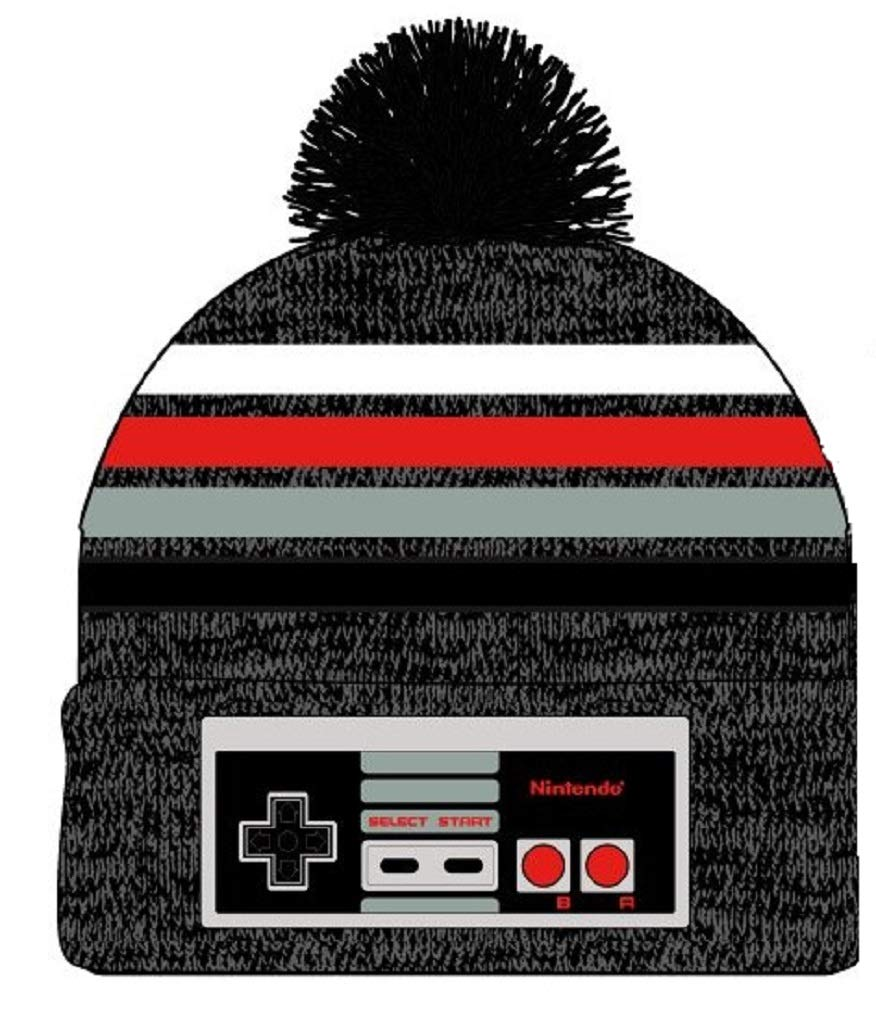Nintendo Classic NES Controller Winter Beanie Hat with Pom Grey