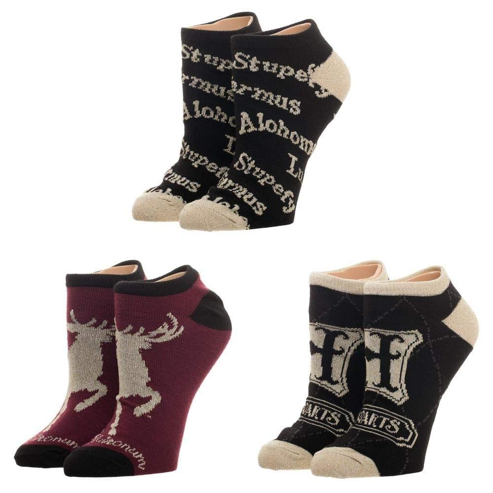 Harry Potter - Advanced Wizardry Adult Ankle Socks Hogwarts Expecto 3 Pairs