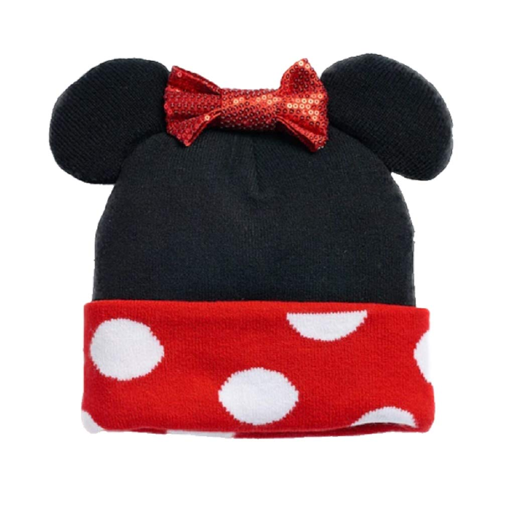 Disney Minnie Mouse Winter Black and Red Beanie Hat with Ears & Bow