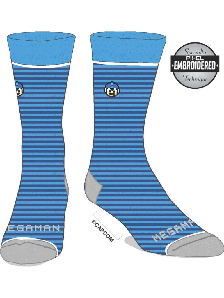 Megaman - Mens Casual Blue Stripes with Logo Socks