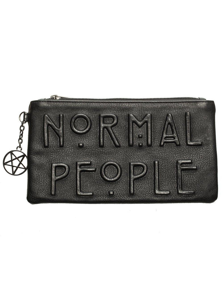 American Horror Story Debossed Black Zip Clutch Wallet