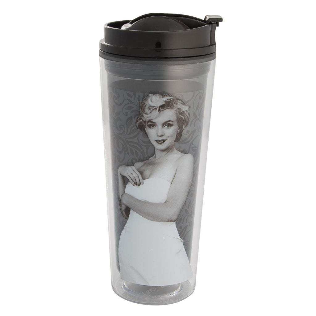 Vandor 70022 Marilyn Monroe Vision in Black & White Acrylic Insulated Travel Tumbler, 16 oz, Multicolor