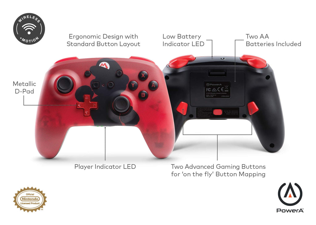 Enhanced Wireless Controller for Nintendo Switch Accessories - Mario Silhouette