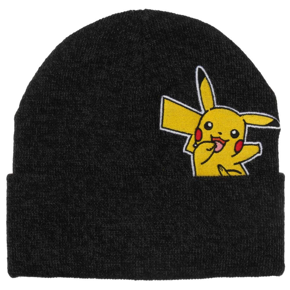 Pokemon - Pikachu - Embroidered Peak-a-Boo Beanie Grey