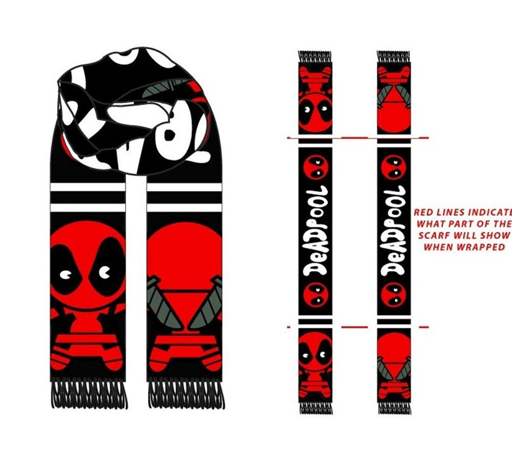 Marvel Deadpool Knitted Winter Scarf Red N' Black Jacquard Comic Book Antihero