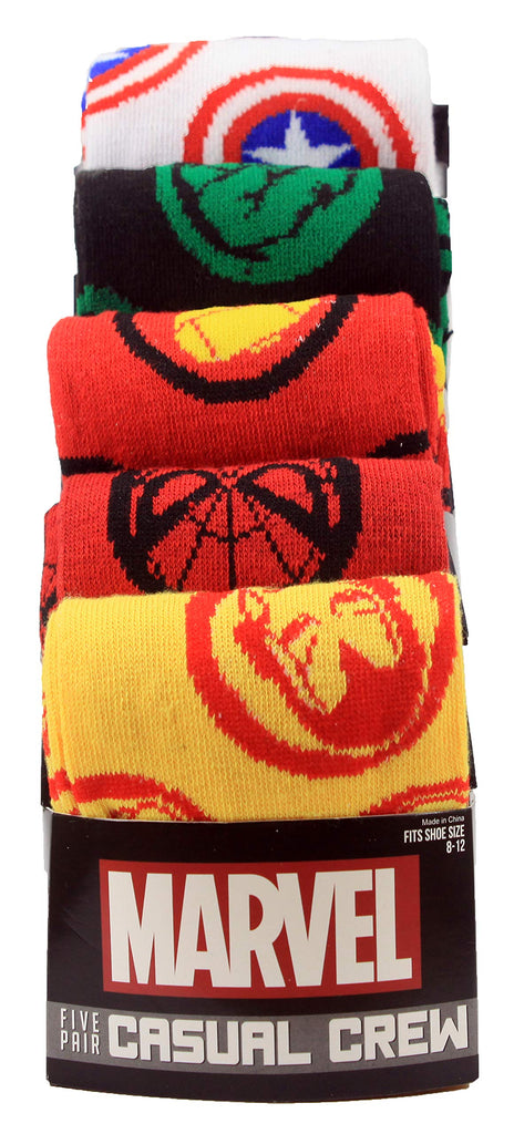 Marvel  - Avengers - Casual Crew Socks, Multicolored, Pack of 5, Size 8-12
