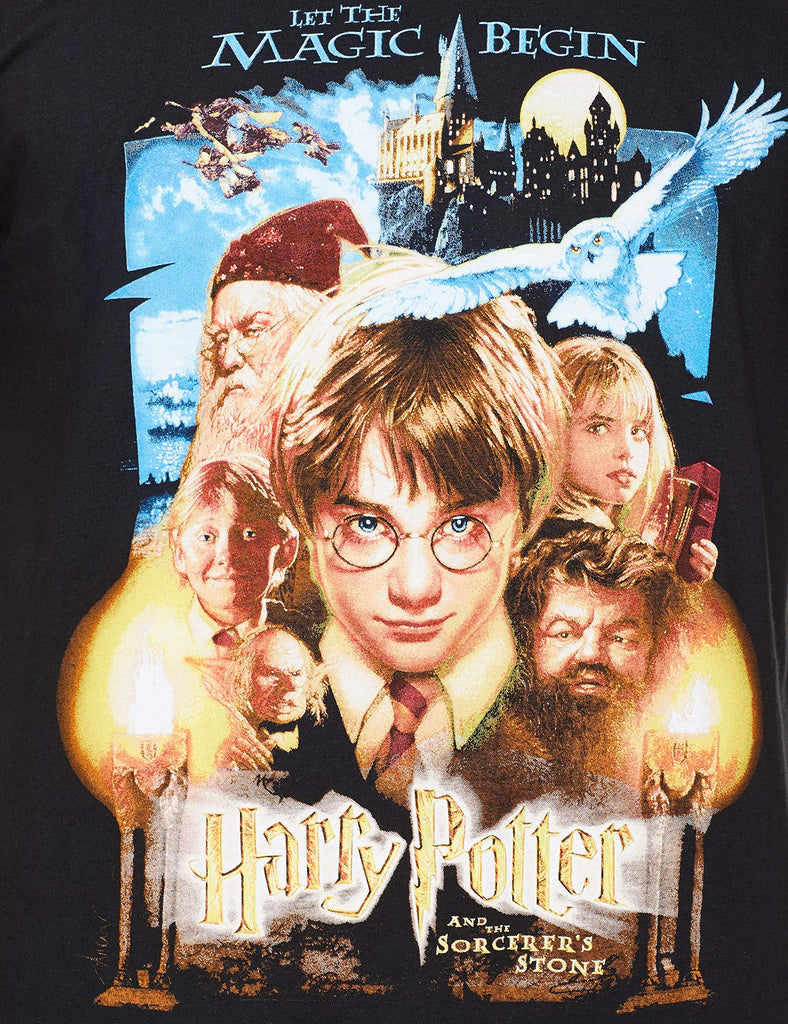 Harry Potter - Official Men's Sorcerers Stone Movie Poster T-Shirt - Loose Fit
