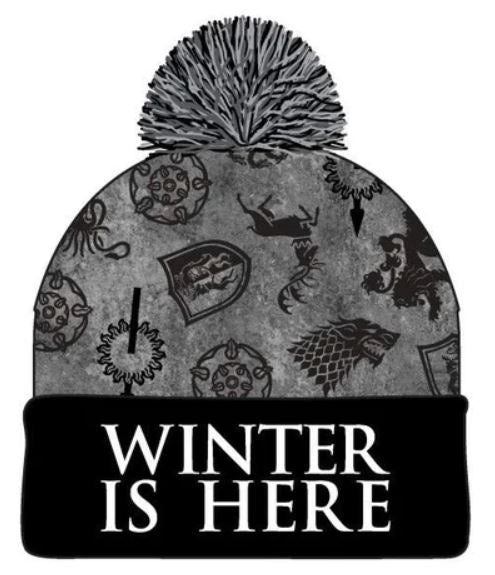Game of Thrones - Winter is Here Houses Logo Pom Beanie Hat - Grey & Black