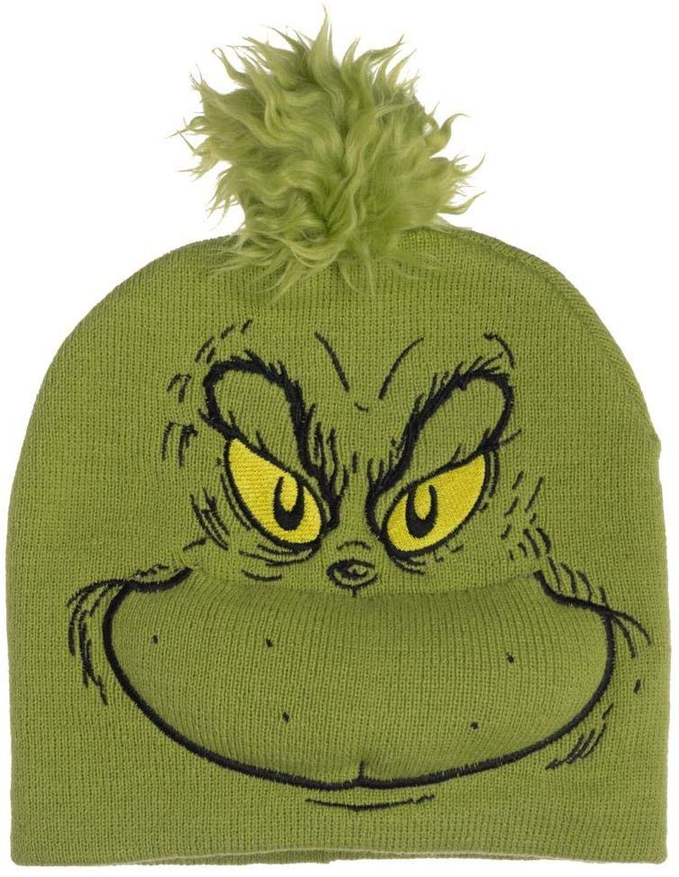 Dr. Seuss The Grinch Who Stole Christmas - Pom Beanie Hat Embroidered Character