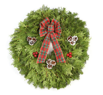 "25"" Itascan Wreath  Price includes designer box, personalized note card and shipping.  Orders must be placed by 4 PM on 14 Nov."
