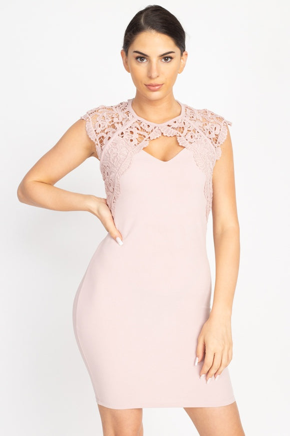 Crochet Lace Cutout Mini Dress