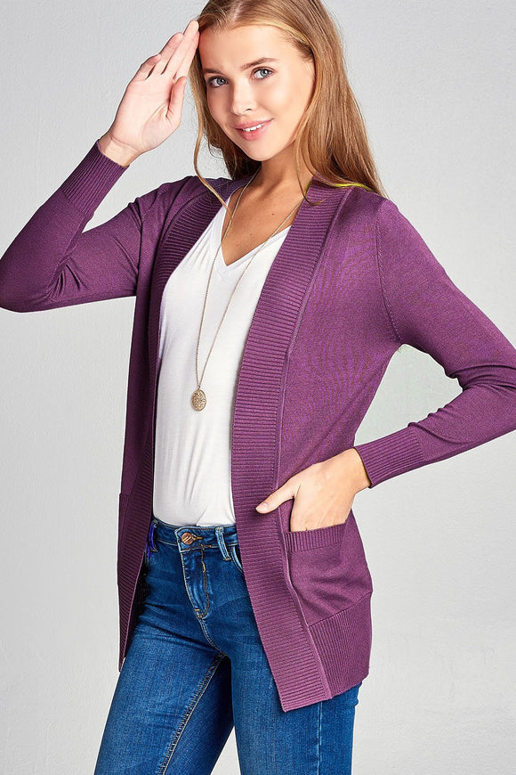 Long Sleeve Cardigan W/pockets - Purple
