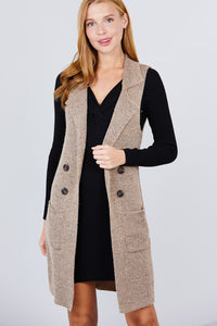 (Pre-Order) Sleeveless Long Sweater Vest With Pockets - Khaki