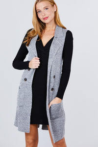 Sleeveless Long Sweater Vest With Pockets - Gray