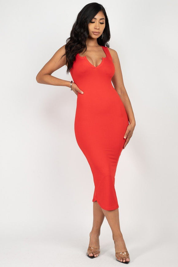Midi Split Neck Bodycon Dress