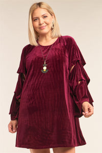 Plus Size Velvet Fit With Cut-out Sleeve Detail Mini Dress - Wine