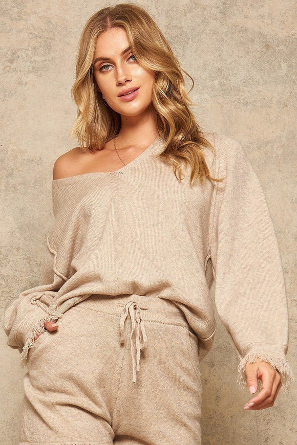 Fringe Cuff Sweater- Tan