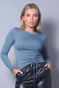 Long Sleeve Ruched Side Top (Slate)