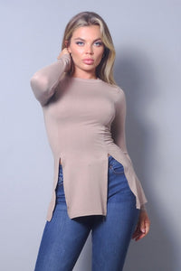 Chic Fall Long Sleeve Top with Side Slit (Taupe)