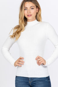 Long Sleeve Viscose Sweater - White
