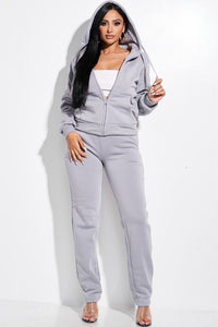French Terry  Faux Fur Lined Jacket And Pants Set - Gray