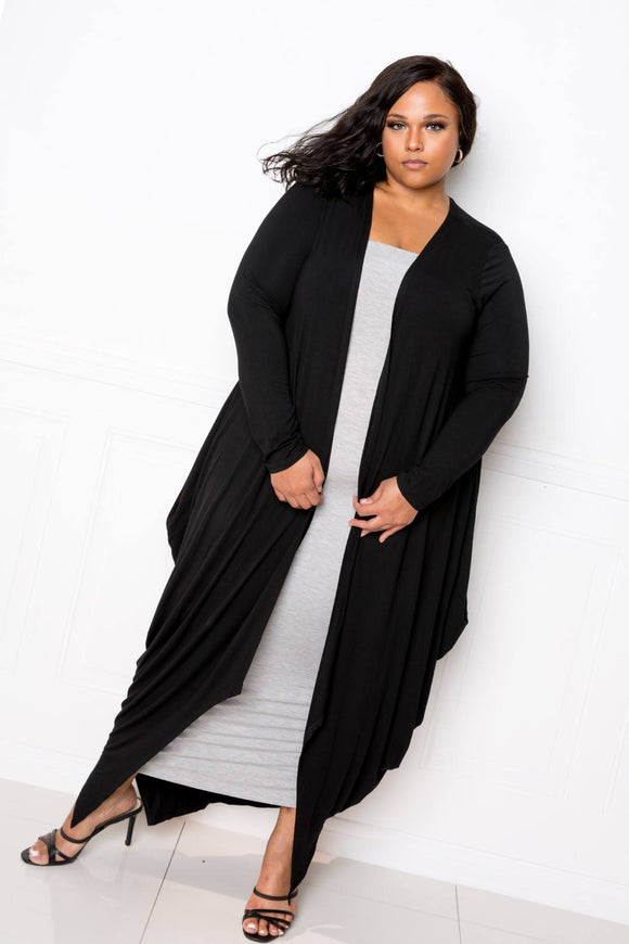 Plus Size Waterfall Cardigan in Black