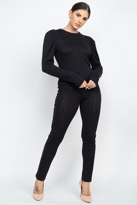 The Lola Puff Sleeve Set - Black