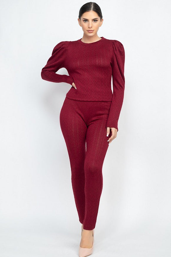 The Lola Puff Sleeve Set - Burgundy
