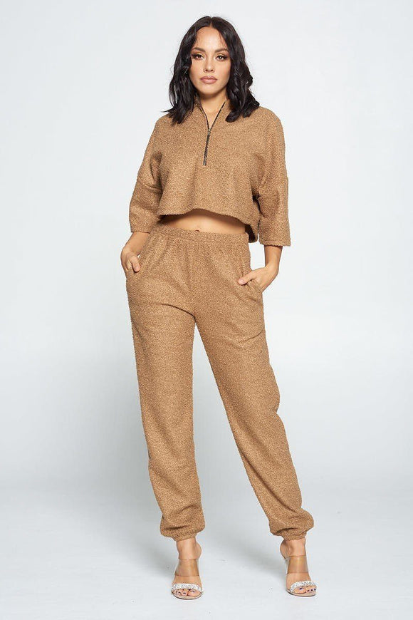 Brown Fall Feel Top And Pant Set