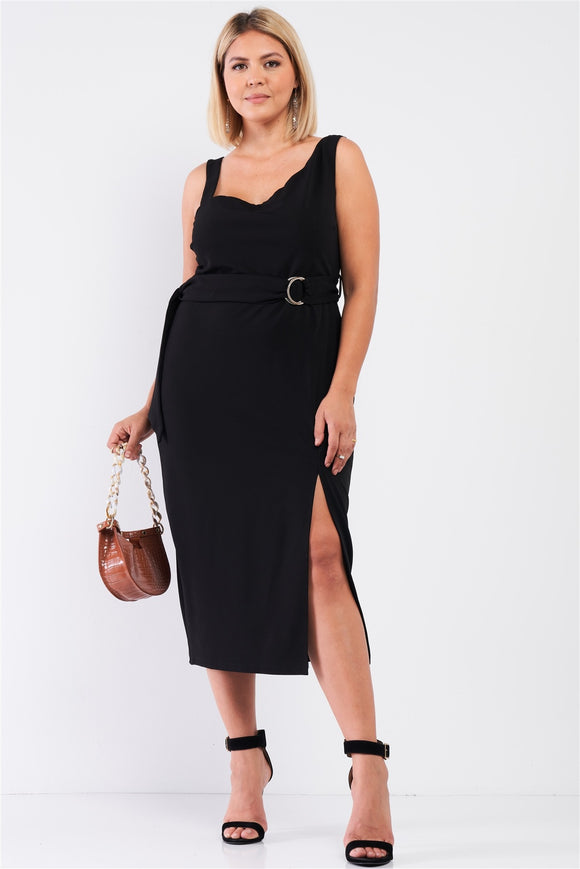 Curvy Asymmetrical Shoulder Belted Dress - Black