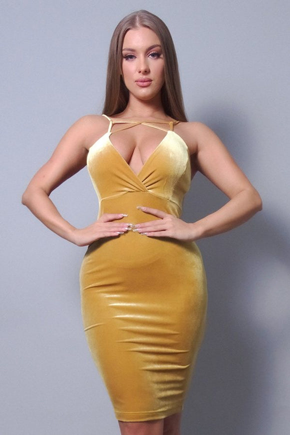 Mustard Velvet Bodycon Dress
