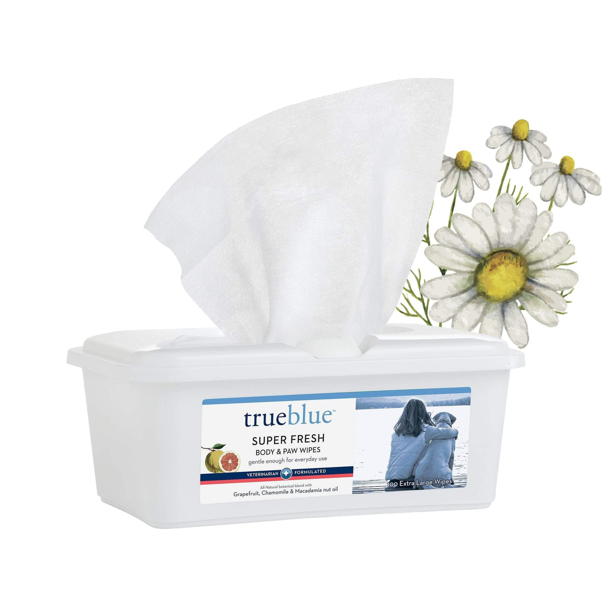 True Blue Super Fresh Body&Paw Wipes-Grapefruit/Macadamia Extract 100ct - For Southeastern Guide Dogs