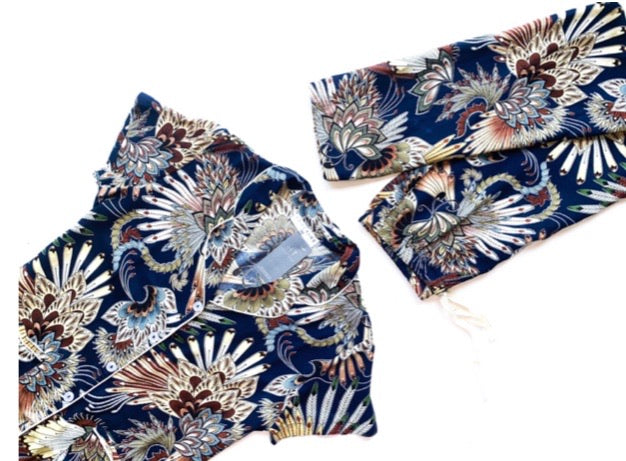 Navy Abstract Floral - RAYON