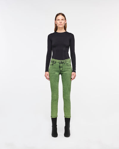 Julianne Skinny Denim Pant Green Aurora