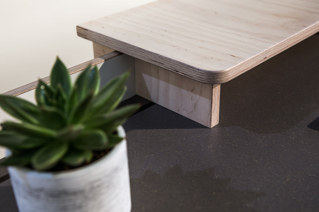 The Flo Home Office Desk - handmade desk by TORMAR with Mona monitor stand