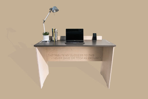 The Flo - handmade desk in Birch finsh by TORMAR shown with Flo desk