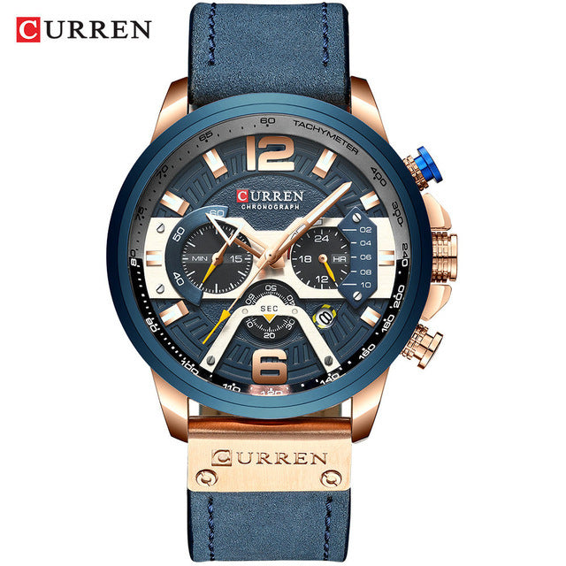 Men's Casual Luxury Military Leather Wrist Watch