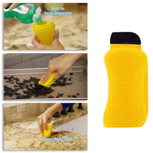 Sponge Scraper With Soap Dispenser