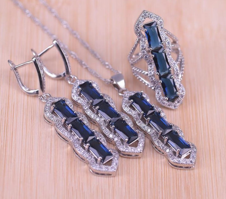 Blue Cubic Zircon White Crystal Jewelry Set